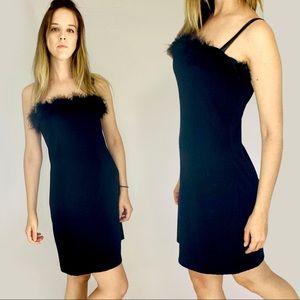 90s feather trim spaghetti strap little black dress